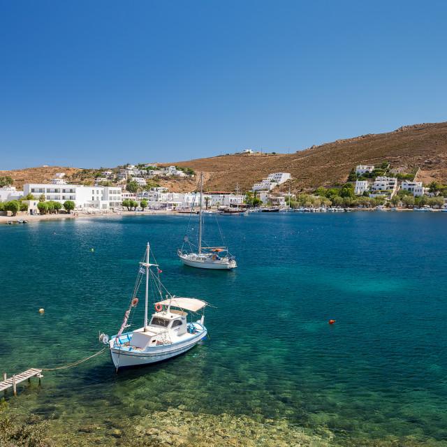 """Grikos gulf in Patmos island Greece"" stock image"