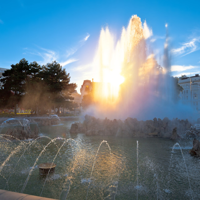 """""""Vienna. Fountain of Hochstrahlbrunnen and street view of in Vienna"""" stock image"""