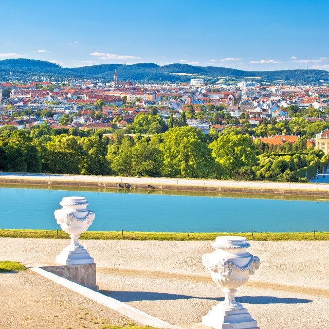 """""""Vienna cityscape from Gloriette viewpoint above Schlossberg castle view"""" stock image"""