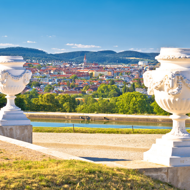 """""""Vienna cityscape from Gloriette viewpoint above Schlossberg"""" stock image"""