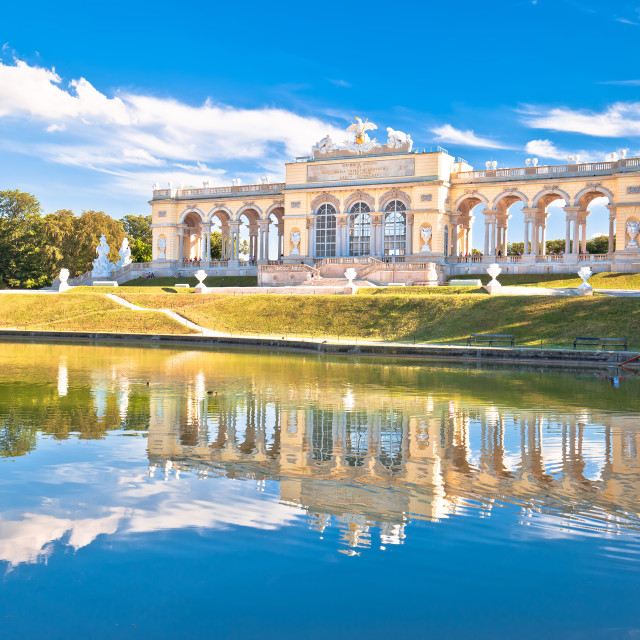 """""""Gloriette viewpoint and Schlossberg fountain lake in Vienna view"""" stock image"""