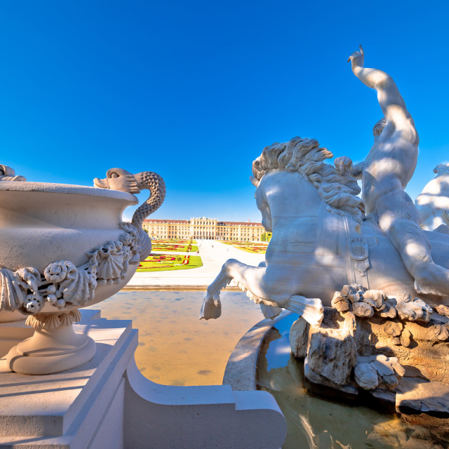 """""""Vienna. Schonbrunn Palace garden and fountain statues view"""" stock image"""
