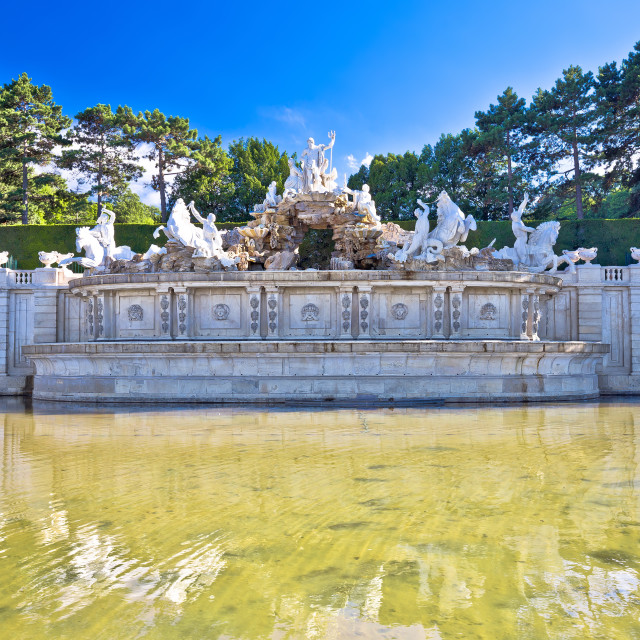 """Vienna. Schonbrunn Palace garden and Neptune fountain view,"" stock image"