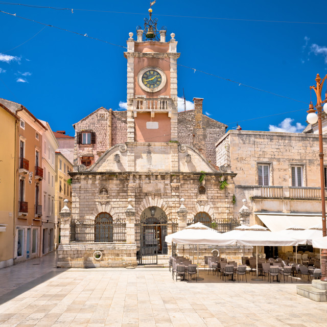"""""""Zadar. People's square in Zadar architecture and cafes view,"""" stock image"""