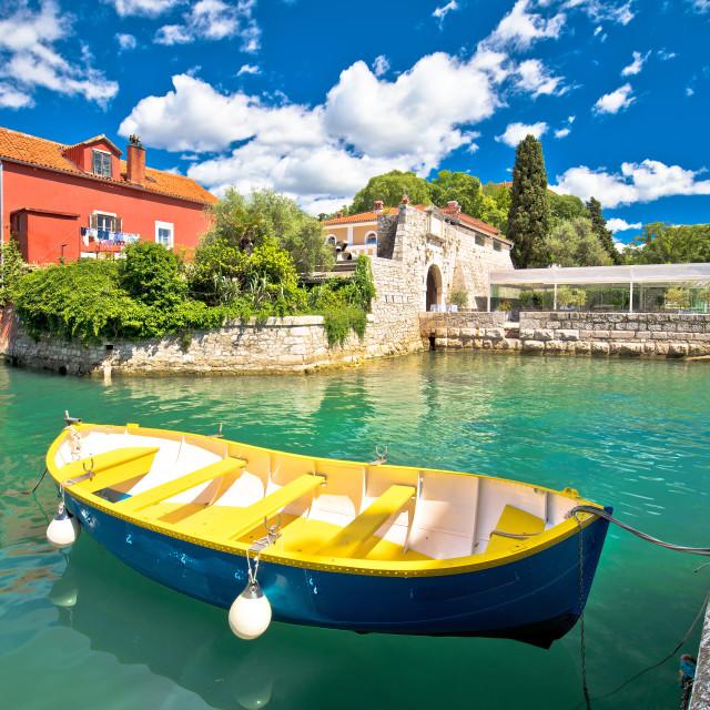 """Zadar. Historic Fosa harbor bay in Zadar boats and architecture colorful view"" stock image"