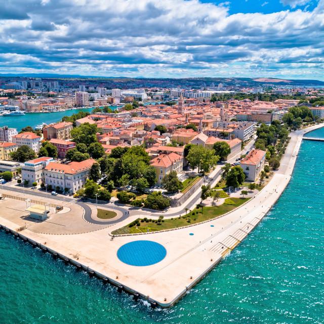 """""""Zadar. Town of Zadar historic peninsula panoramic aerial view,"""" stock image"""