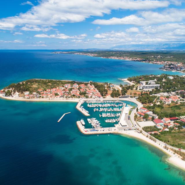 """""""Zadar. Puntamika peninsula of Zadar aerial panoramic view"""" stock image"""