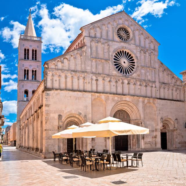 """Zadar. Historic cathedral square in Zadar street view, Dalmatia region of..."" stock image"