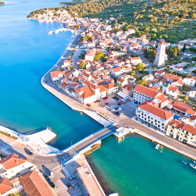 """Coastal town of Tisno aerial panoramic view, bridge to island of Murter"" stock image"