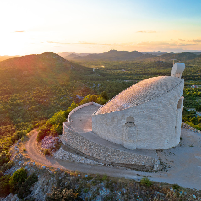 """""""Okit hill church near town of Vodice aerial view,"""" stock image"""