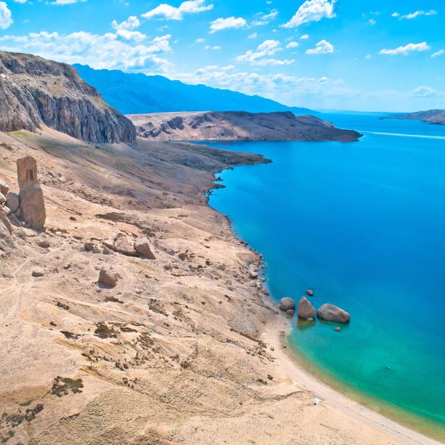 """Metajna, island of Pag. Famous Beritnica beach in stone desert amazing scenery"" stock image"