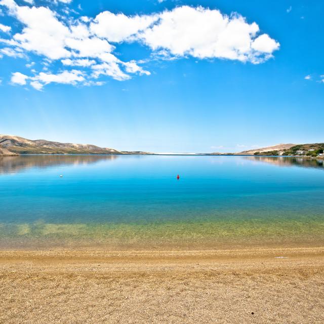 """Idyllic coastal village of Metajna beach view, Island of Pag"" stock image"