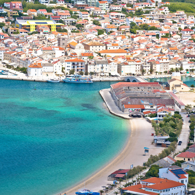 """""""Town of Pag. Pag island bay and beach aerial view"""" stock image"""