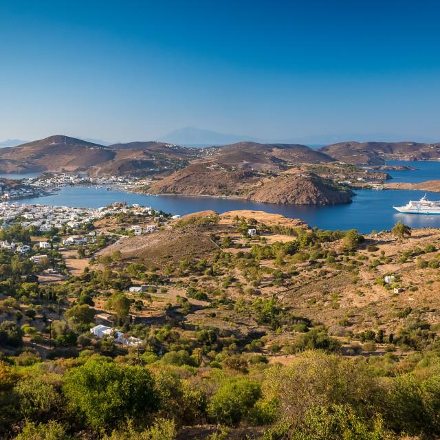 """""""Patmos island panorama"""" stock image"""