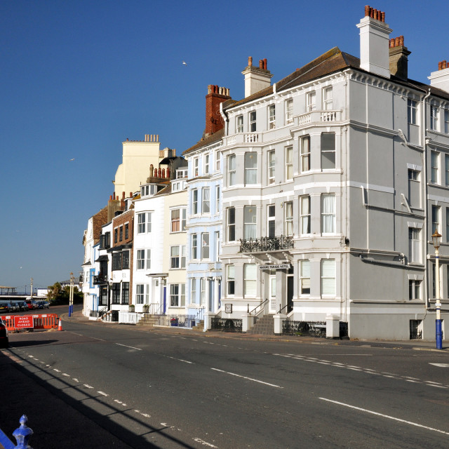 """""""seafront, road closed,Eastbourne"""" stock image"""