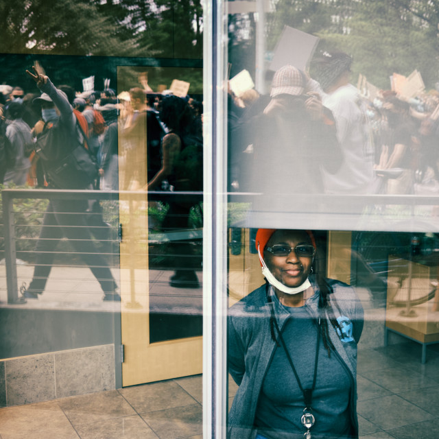 """""""Onlooker at George Floyd Protest"""" stock image"""