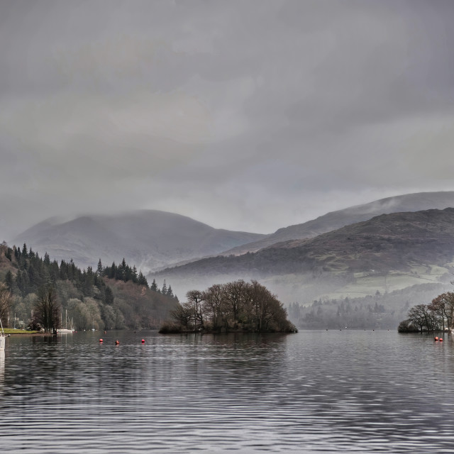 """Moody shot across Coniston Water"" stock image"