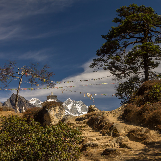 """Everest & Lhotse seen from a pass above Namche Bazaar"" stock image"