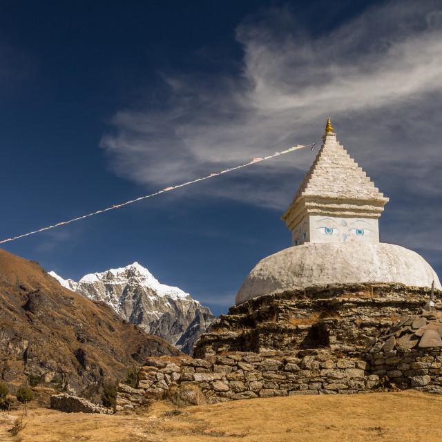 """""""Stupa above Namche Bazaar"""" stock image"""