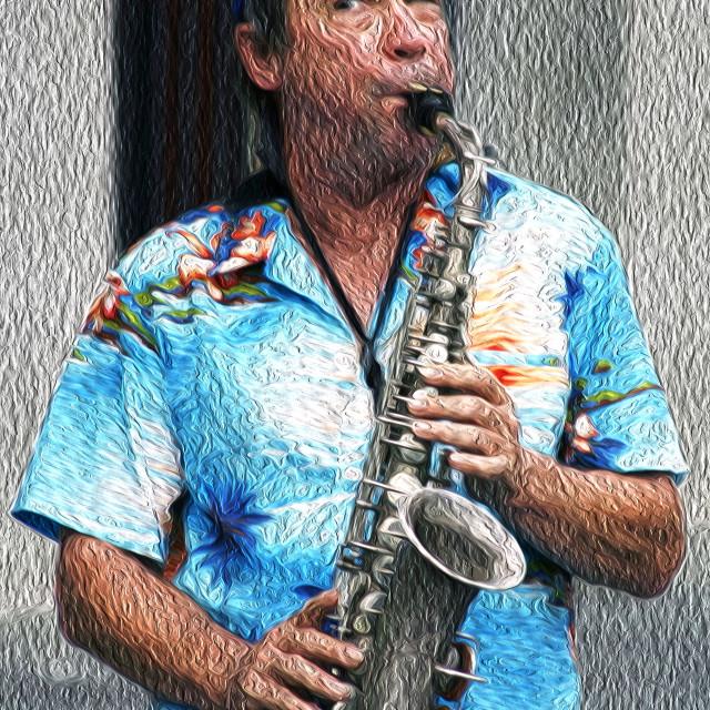 """Jazz street performer"" stock image"