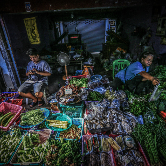 """""""Local scene at floating market and street vendors in Bangkok"""" stock image"""