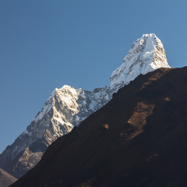 """Ama Dablam seen from Namche Bazaar"" stock image"
