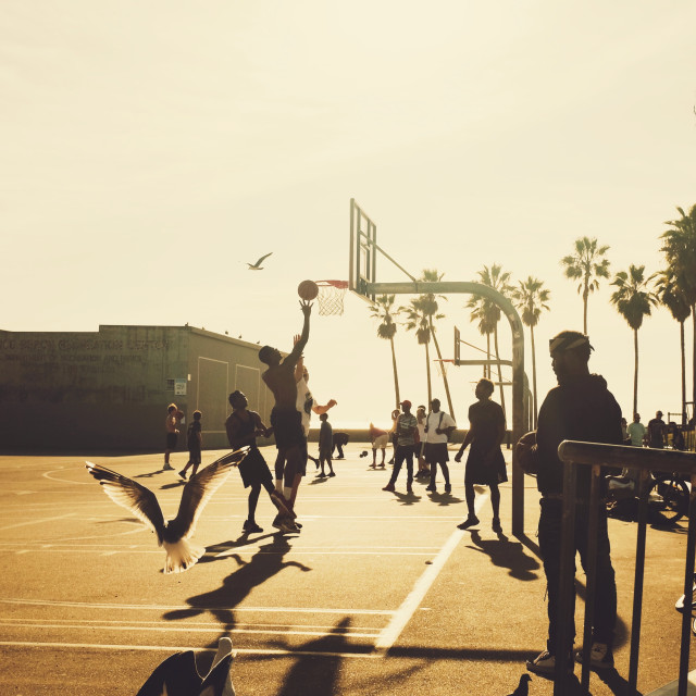 """""""Men playing basketball at Venice Beach during a sunset"""" stock image"""