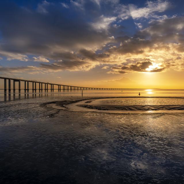 """Vasco da Gama bridge reflections"" stock image"