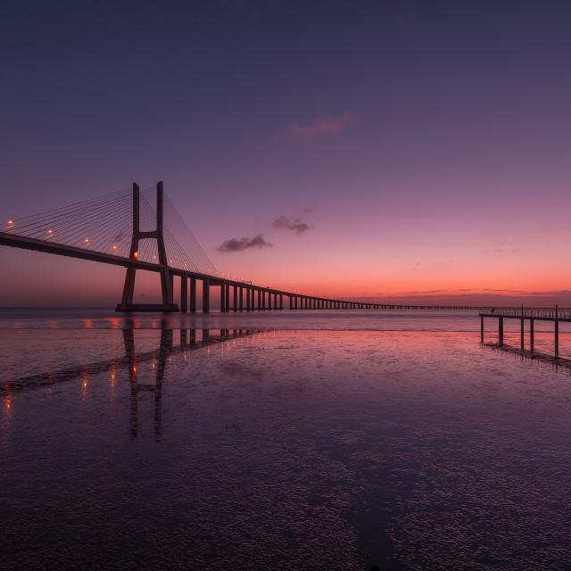"""Sunrise in Vasco da Gama bridge"" stock image"