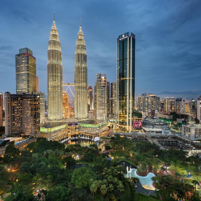 """Kuala Lumpur skyline taken at dusk"" stock image"