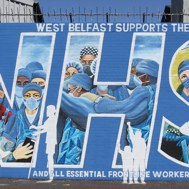 """""""West Belfast Supports the NHS and all Essential Frontline Workers"""" stock image"""