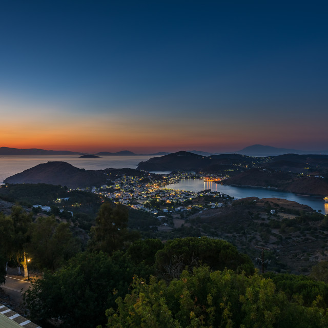 """Patmos island in twilight"" stock image"