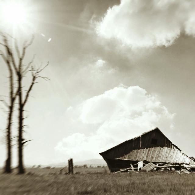 """Abandoned barn"" stock image"