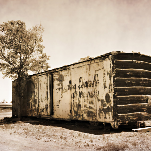 """""""Abandoned rail car in Estancia, New Mexico"""" stock image"""
