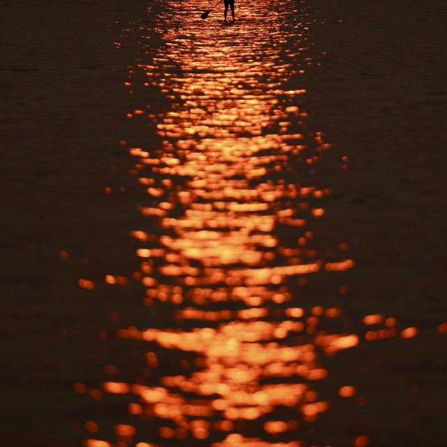 """""""Paddle Boarder at Sunset"""" stock image"""