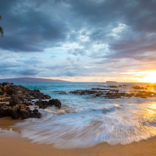 """""""Sunset at a secluded cove in Hawaii"""" stock image"""