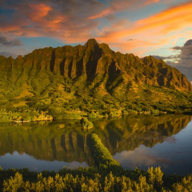"""Sunrise over Oahu"" stock image"