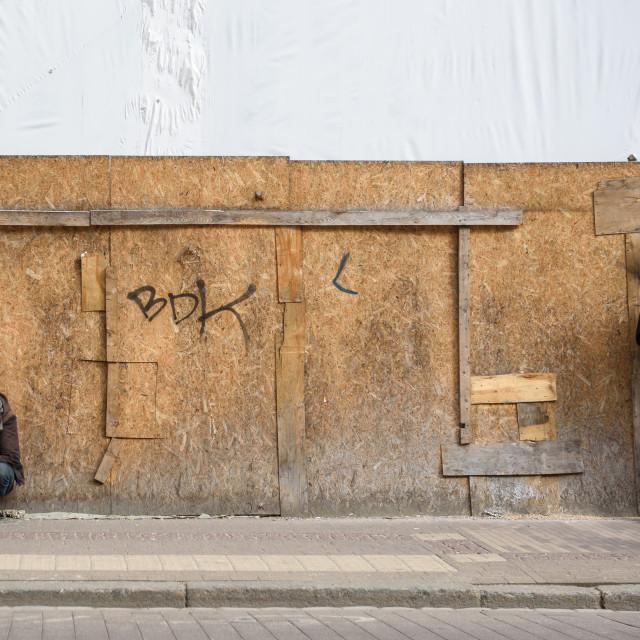 """Waiting for tram at public transport stop. Riga, Latvia."" stock image"
