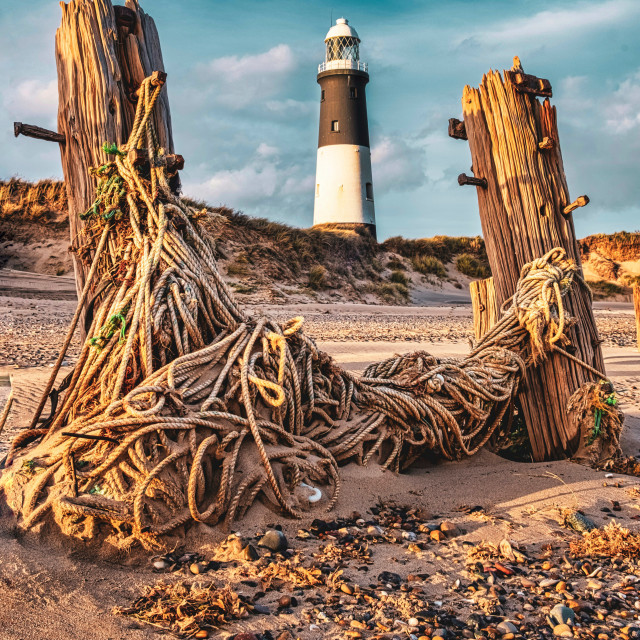 """Spurn lighthouse and rope"" stock image"