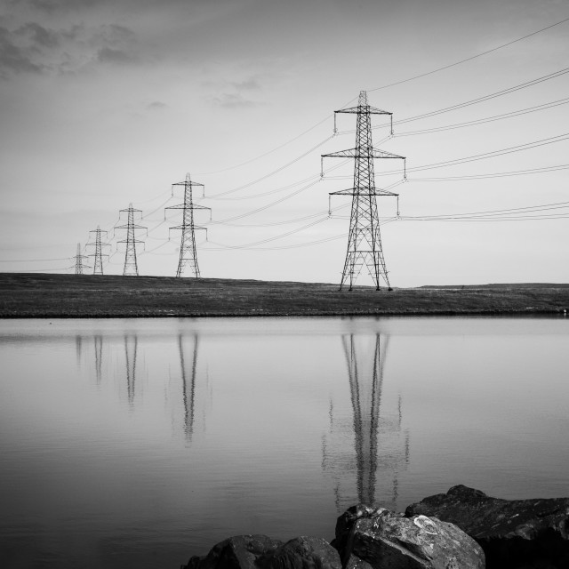 """My Nature - Pylons Reflections On Blackstone Edge Reservoir - Black & White"" stock image"