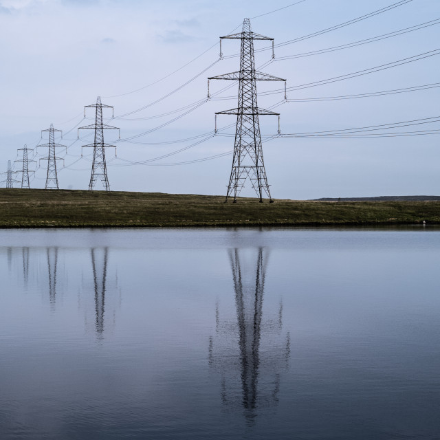 """My Nature - Pylons Reflections On Blackstone Edge Reservoir"" stock image"