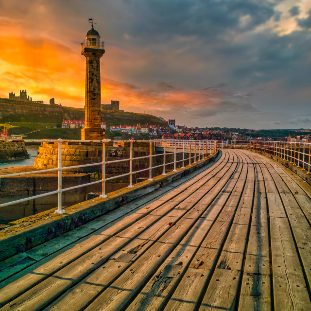 """sunset from Whitby pier"" stock image"