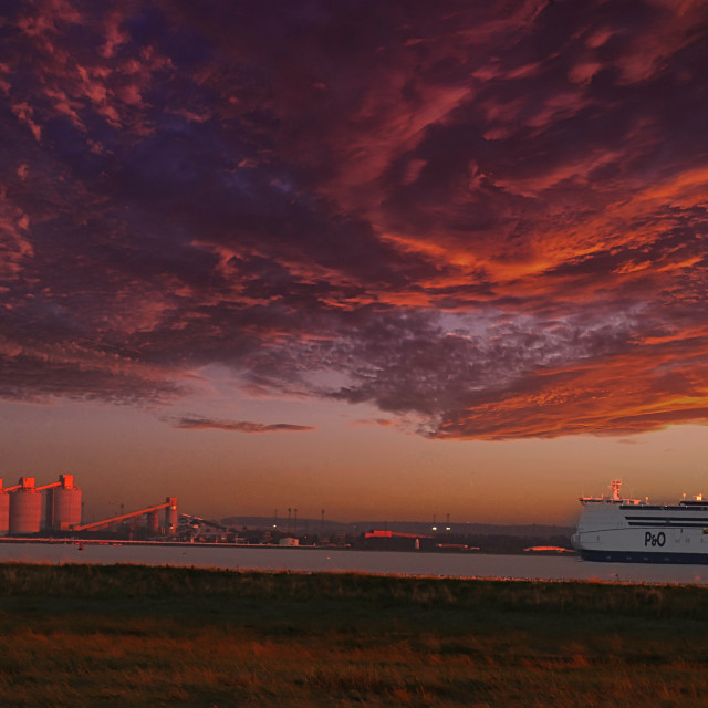 """ferry sunset"" stock image"