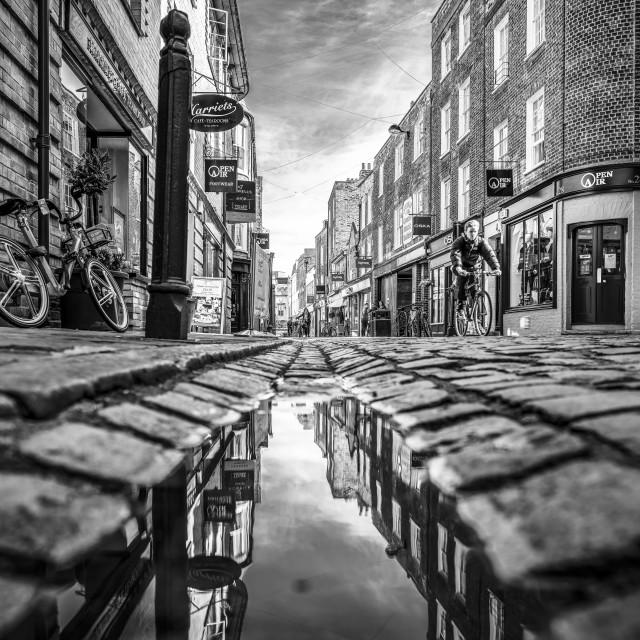"""Green Street, Cambridge UK. Black and White Refection."" stock image"