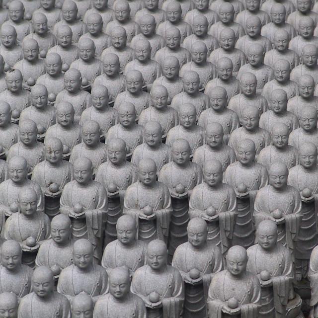 """Jizo statues in the Hasedra Temple, Kamakura"" stock image"