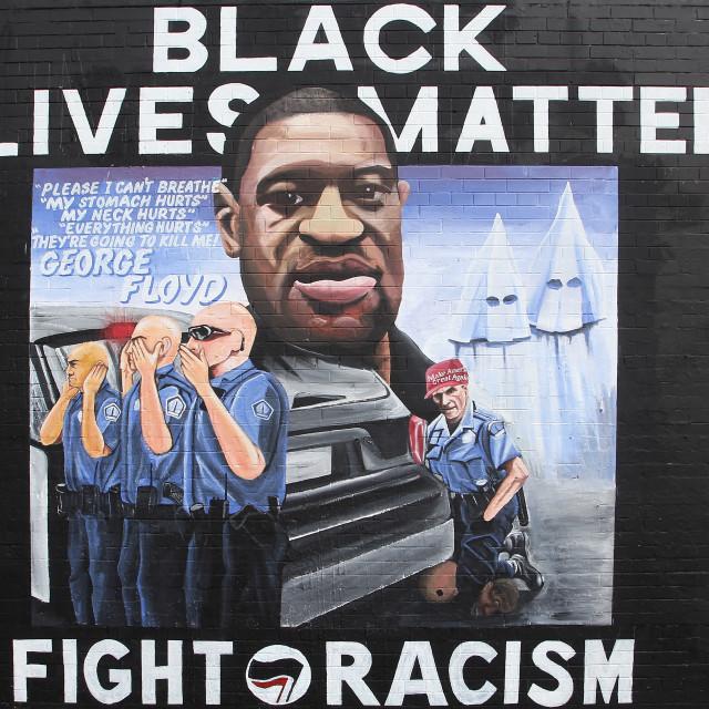 """George Floyd Black Lives Matter Fight Racism Mural Belfast"" stock image"