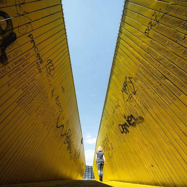 """Yellow walkbridge in Rotterdam, The Netherlands"" stock image"