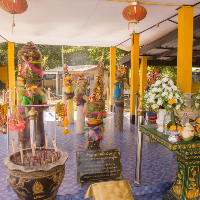 """THAILAND TAK CITY PILLAR SHRINE"" stock image"