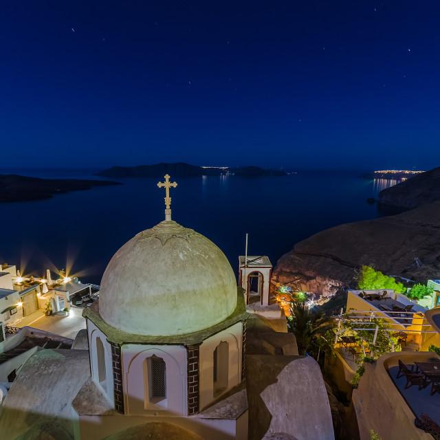 """Fira Santorini at night"" stock image"