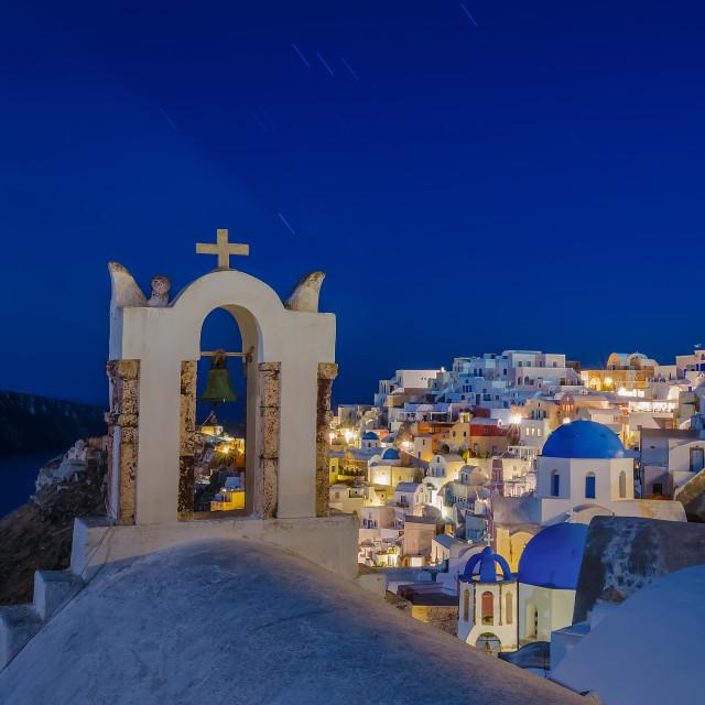 """Oia Santorini at night"" stock image"